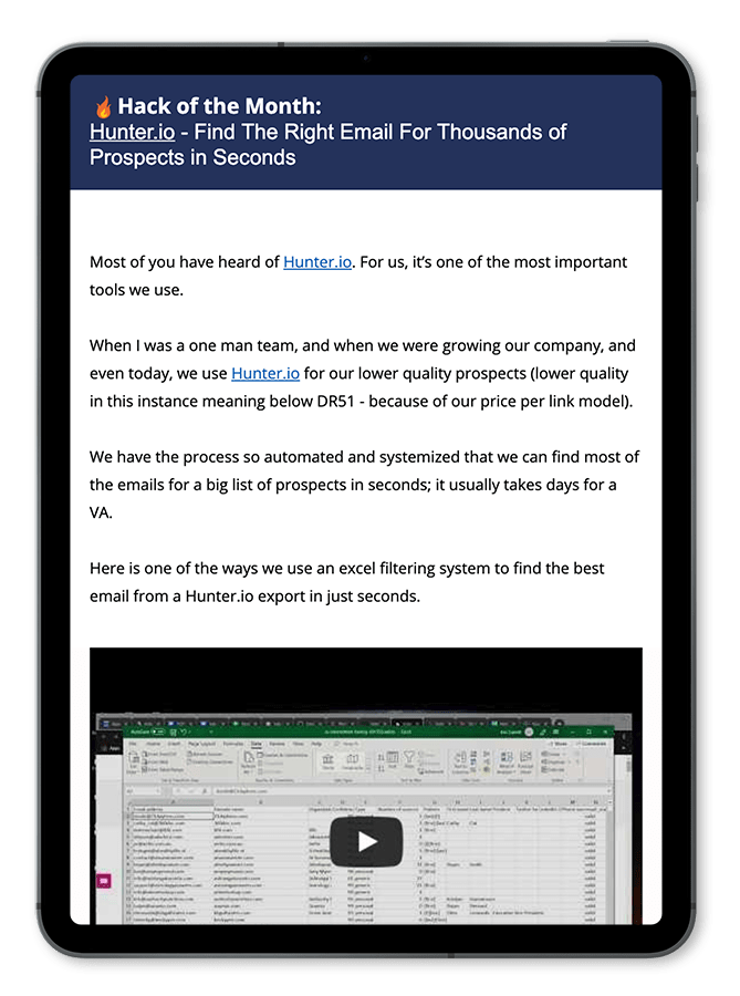 link building newsletter screenshot